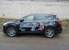 Современный арт на борта Hyundai Santa Fe. Полная защита кузова