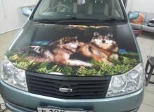 Полноцветные волки на капот Nissan Liberty