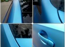 Полная оклейка Volkswagen POLO в голубой матовый хром TeckWrap.