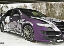 Honda Accord в фиолетовой матовой пленке Arlon c нанесением винилов в стиле Drift! #AUTOVINIL76RU